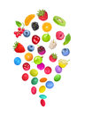 Berries transform into colorful candy in the glaze isolated on white background Stock Photos