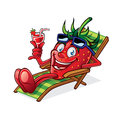 Berry on beach chair cartoon was relaxing a holding up glasses of drink and smiling happily Stock Images