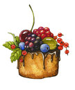 Berry cake on a white background watercolor illustration Royalty Free Stock Photography