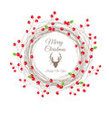 Berry christmas wreath pour la carte de bonne année Photos libres de droits