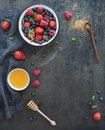 Berry frame with copy space on right. Strawberries Royalty Free Stock Photo