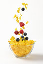 Berry fruit falling in corn flakes Royalty Free Stock Photo