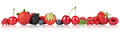 Berry fruits border strawberry raspberry, cherries in a row Royalty Free Stock Photo