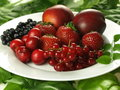 Berry fruits plate with summer Royalty Free Stock Photos