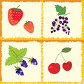 Berry and fruits seamless pattern checked Stock Photo