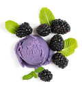 Berry ice cream with blackberries, top view Royalty Free Stock Photo