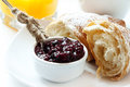 Berry Jam with Croissants,Healthy Breakfast Stock Images