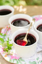 Berry jelly made of black currant jam copy space for your text Royalty Free Stock Photos