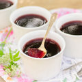 Berry jelly made of black currant jam square Stock Image