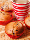 Berry muffins with coffee Royalty Free Stock Photo