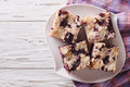 Berry pie with blueberries close-up on a plate. horizontal top v Royalty Free Stock Photo