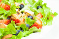 Berry salad with chicken almond and lettuce summer close up copy space Stock Photos
