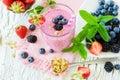 Berry smoothie, healthy summer detox yogurt drink, diet or vegan Royalty Free Stock Photo