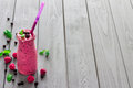 Berry Smoothie with Mint, Blueberry and Raspberry, Free Space for Text Royalty Free Stock Photo