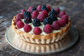 Berry tart fresh mixed cream Royalty Free Stock Photos