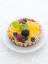 Berry tart a fresh on white background selective focus Royalty Free Stock Image