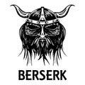 Berserk or berserker warrior head vector icon