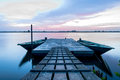 Berth with boats in night on volga Stock Photography