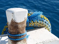 Berth with colorful lifeline in egypt Royalty Free Stock Photo