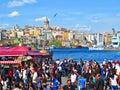 Berth eminonu view on kar istanbul turkey circa april karakoy and galata tower Royalty Free Stock Images