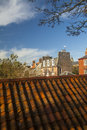 Berwick upon tweed rooftops in northumberland england looking over pan tile towards the georgian houses inside the town walls Stock Photography