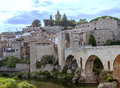 Besalu village with bridge view located in the spanish province of girona in catalonia the river is in one side we see the facades Royalty Free Stock Photo