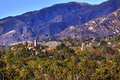 Beskickning santa barbara mountains palm trees california Royaltyfri Foto
