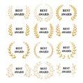 Best award Vector gold award laurel wreath set. Winner label, leaf symbol victory, triumph and success illustration set.