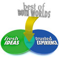 Best of both worlds fresh ideas trusted experience the on a venn diagram with intersecting overlapping circles and the words and Royalty Free Stock Image