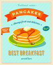 Best breakfast - vintage restaurant sign. Retro styled poster with pile of best in town pancakes with butter and maple syrup.