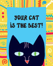 Best cat funny greeting card illustration Stock Photo