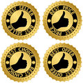 Best certificate golden set seller price choice offer labels Stock Images
