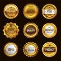 Best certification golden sign. Gold design premium award emblem medals and round labels stamp vector elegant set