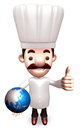 Best Chef holding a globe Stock Photo