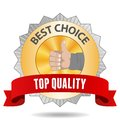 Best choice badge sign with red ribbon Stock Photos