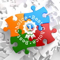 Best choice concept on multicolor puzzle written arround icon of award business Royalty Free Stock Photo