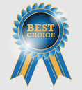 Best choice label blue with ribbon Royalty Free Stock Photos
