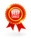 Best choice red label with ribbons Royalty Free Stock Photography