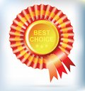 Best choice red label with ribbons for your design Royalty Free Stock Image