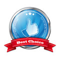 Best choice stiker blue with red ribbon eps Stock Image