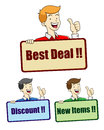 Best deal sign vector illustration of a man holding deall Stock Photos