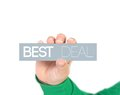 Best deal woman holding a label with Royalty Free Stock Image