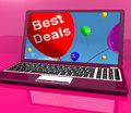 Best Deals Balloons On Computer Representing Discounts Online Royalty Free Stock Images