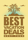 Best deals for holiday banner with an island with palm trees and airplanes Royalty Free Stock Photo