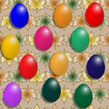 Best Easter eggs on a background pattern with maple leaves