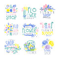 Best flower shop set of logo templates hand drawn vector Illustrations Royalty Free Stock Photo