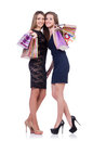 Best friends afte shopping on white Stock Photo