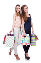 Best friends afte shopping on white Stock Photography