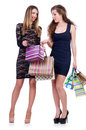 Best friends afte shopping on white Royalty Free Stock Image