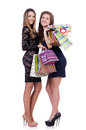 Best friends afte shopping on white Stock Image